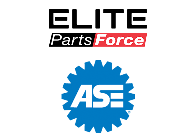 Auto Plus Elite Parts Force and ASE logo