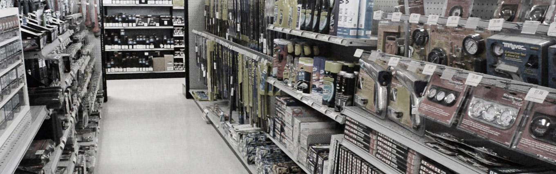 Auto Plus warehouse aisle
