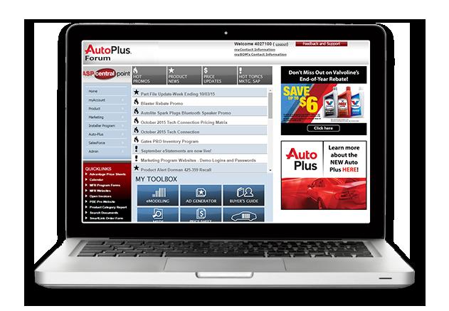 Auto Plus web site on computer